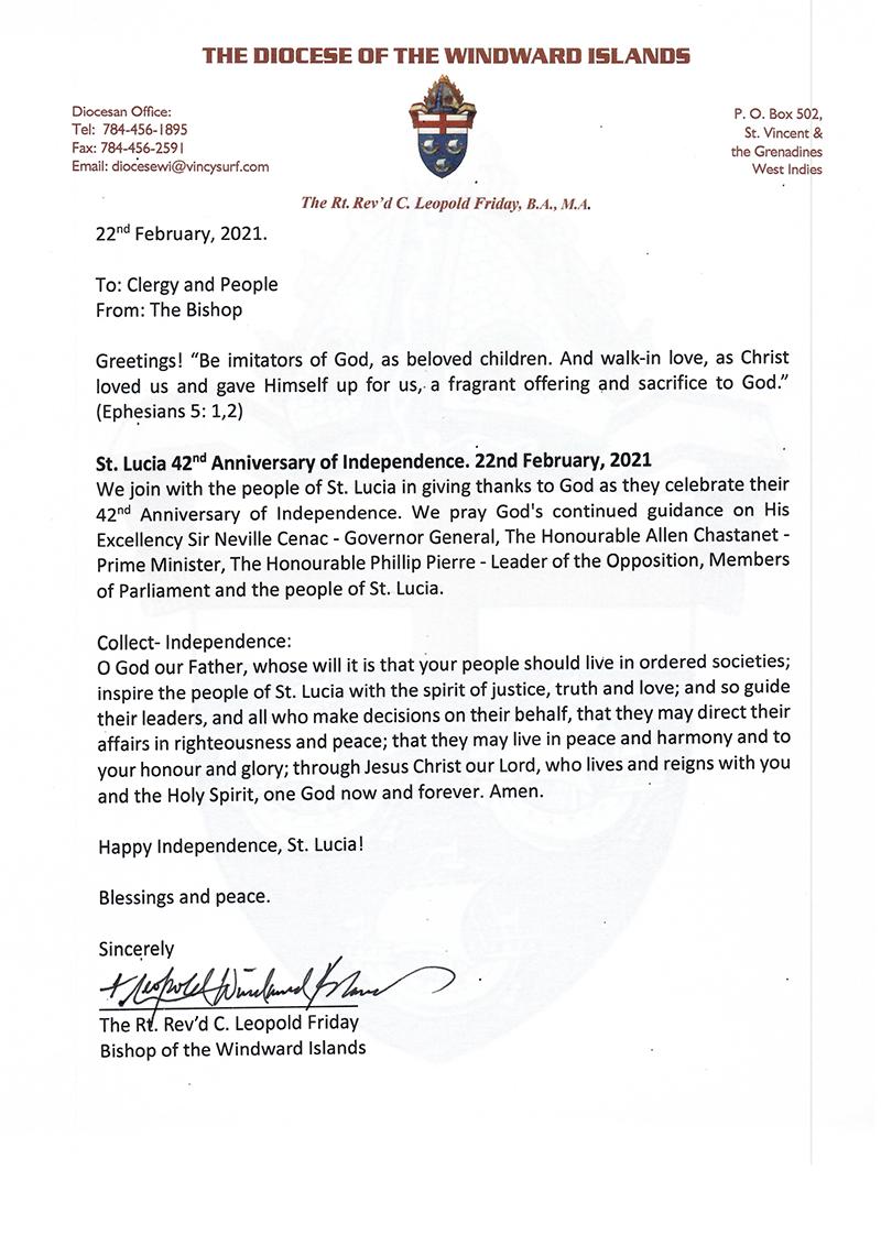 THE BISHOP'S CIRCULAR – 22nd February, 2021